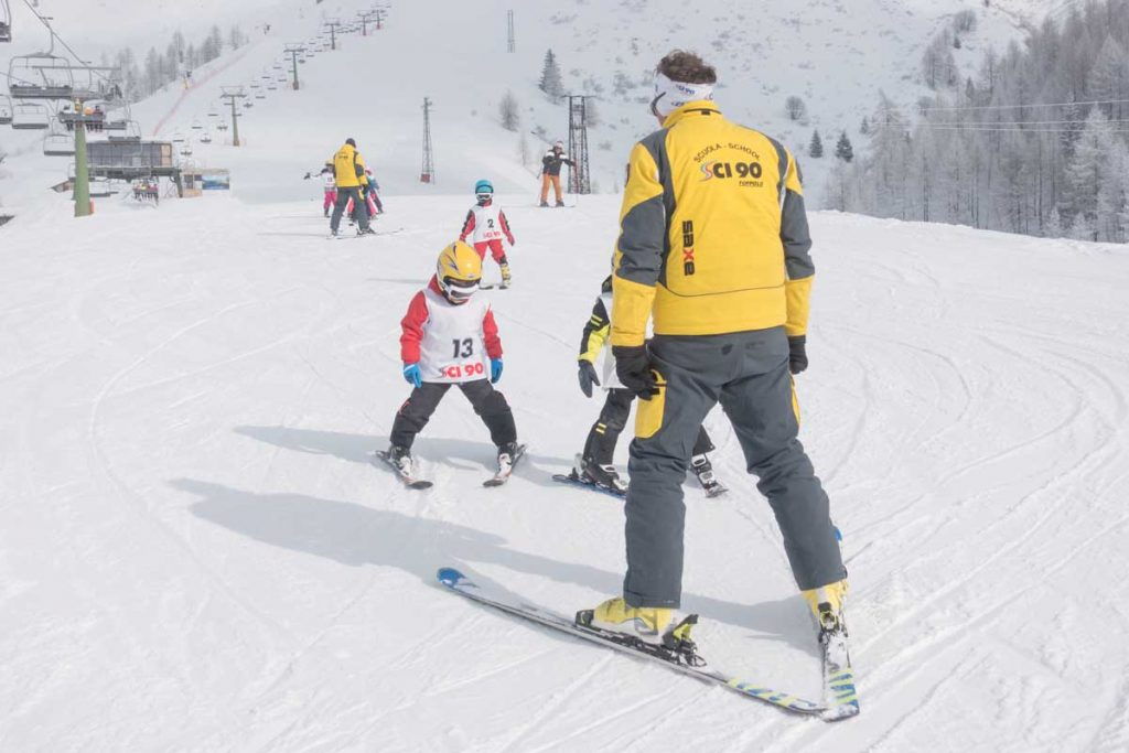gruppo pista scuola di sci